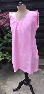 French Vintage Pink Linen Chemise