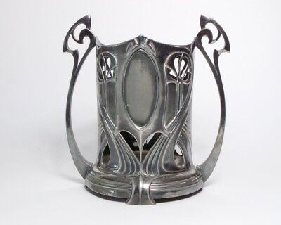 Antique 1900s Art Nouveau WMF silver plate pewter champagne / wine bottle holder