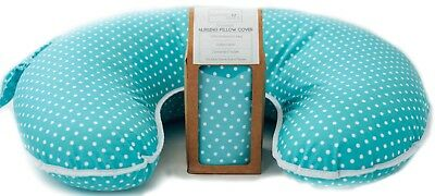 Waterproof Cover for Boppy Pillow-Blue Polka Dot Cotton Cover- Waterproof Lining