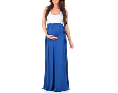Women's Ruched Maternity Maxi Dress: White-Royal/Small NEW!