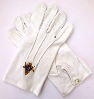 White Masonic Gloves with Embroidered Gold & Blue Square & Compass