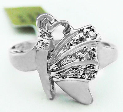 GENUINE DIAMOND BUTTERFLY RING 14k WHITE GOLD ** New With Tag  & FREE shipping