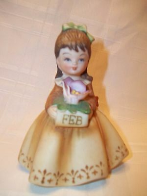 Vintage Lefton China February Girl Figurine with Flower  4 1/2 Inches Tall