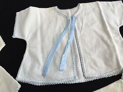 Set Of 5 Vintage White Baby Robes With Blue Trim, Beautiful Condition