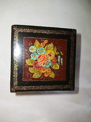 Vintage Nice Mstera Papier-Mache/russian Lacquer Hand-Painted Box ,signed