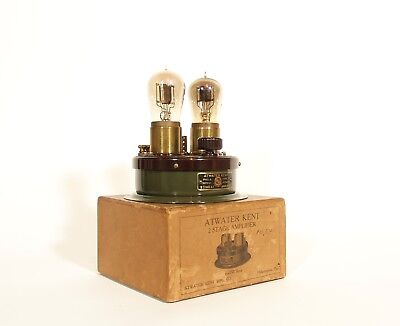 Mint-In-Box, Working 1922 Atwater Kent Radio Amplifier w/Good Tipped Tubes