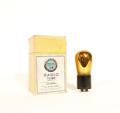 Mint-in-Box 1923 Ozarka S-J 1 GOLD Glass Radio Tube * Exceptionally Rare & NOS