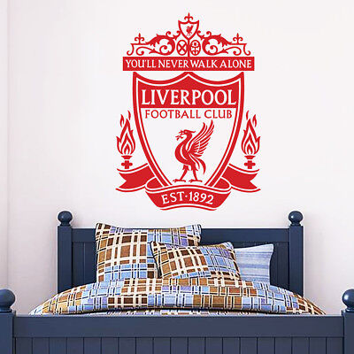 Official Liverpool Football Club One Colour Crest Wall Sticker + LFC Decal Set