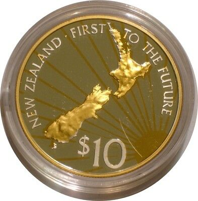2000 Silver & Gold $10 of New Zealand FIRST TO THE FUTURE Proof with COA