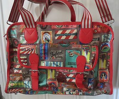 OILILY Large Travel Duffel Bag Multi Colored Travel Theme Rare Discontinued