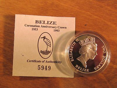 Belize 1993 silver Proof $2 Coin