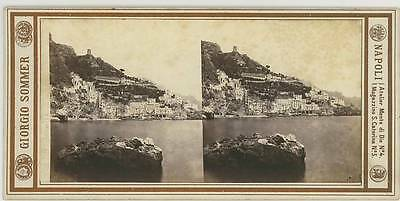 VINTAGE STEREO view 1870s Amalfi by Giorgio Sommer Naples Neapel Italien Italy