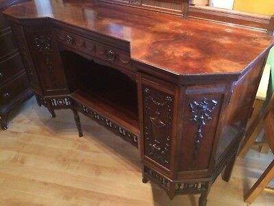 A 19th CENTURY ADAMS STYLE BURR WALNUT SIDEBOARD