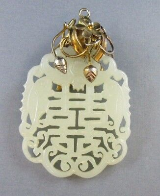 Vintage Chinese Jade Carved Necklace Pendant Gold Tone Hanger 35 Grams