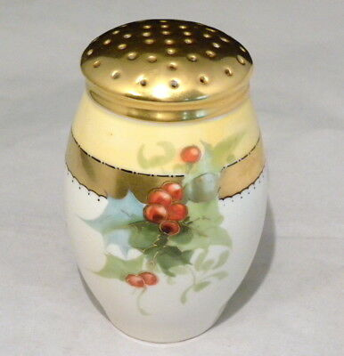 Gorgeous Victorian Porcelain Sugar Shaker Hand Painted Holly Berries & Gold 1910