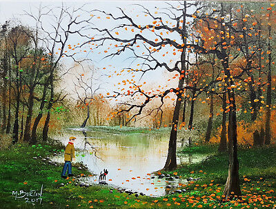 "Mal..burton Original Art Oil Painting   "" A Walk At The Pond - Man Dog  """