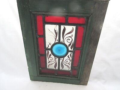 Antique ? vintage very small stained glass inset window panel .
