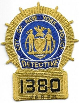 "New York  Detective - 1380 (3"" x 4"" size) shoulder police patch (fire)"