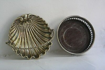 Vintage Silver plated shell serving dish & Silver plated bottle holder