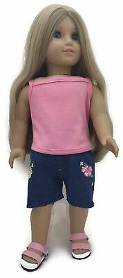 """Coral Pink Tank Top & Frayed Hem Denim Shorts for 18"""" American Girl Doll Clothes"""