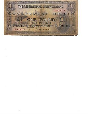 Bank of New Zealand Govt of Fuji one pound note- 1933