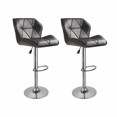 2 Breakfast Bar Stools Padded Swivel PU Leather Chrome Kitchen Pub Diamond Grey