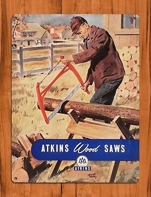 "TIN SIGN ""Atkins Saws"" Rustic Garage Woodsaw Wall Decor"