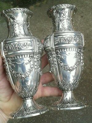 Fine Pair Of Beautiful Solid Silver French Empire Neoclassical Mantle Vases 1890