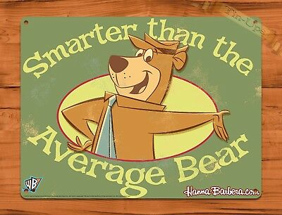 "TIN-UPS Tin Sign ""Yogi Bear Smarter"" Hanna Cartoon Wall Decor"