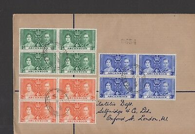 Ascension. 1937 Coronation set of 3 blocks x 4 on cover. Very fine!