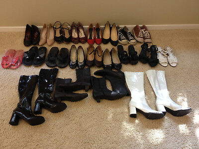 Lot of 21 Pairs of Women's Shoes, Sneakers Boots Sandles & Heels Size 9