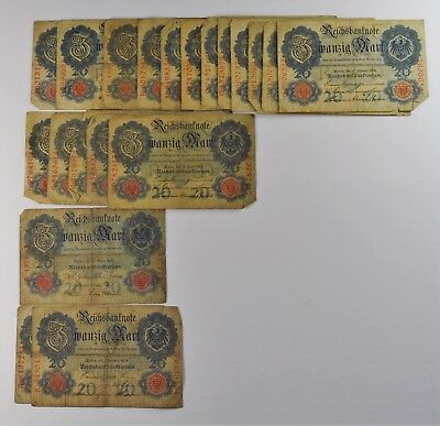 Lot Of 20 - 20 Mark Germany 1906-1914 -Vg/fine