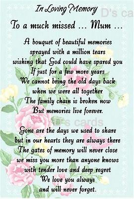 In Loving Memory Graveside Flower Keepsake  Flat Card Much Missed Mum Only
