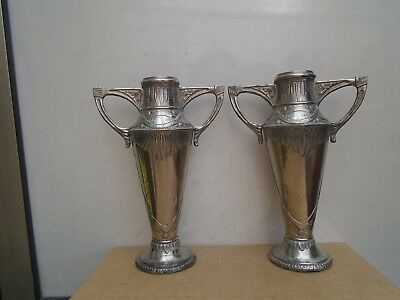 pair of antique art nouveau base metal twin handled vases   unusual attic finds