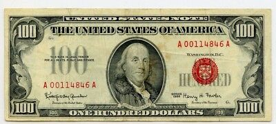 1966 $100 Small Size Red Seal Legal Tender
