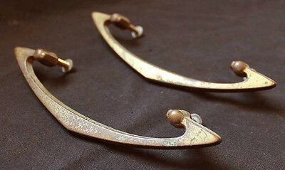 Pair Vintage Art Deco Brass Dresser Drawer Cabinet Furniture Pull Knob Handle