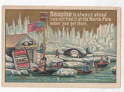 Soapine trade card Victorian North Pole whaling whale US flag rare