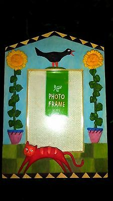 Blue Sunflower, Cat & Crow Picture Frame 3.5 X 5