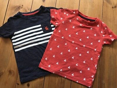 Next Baby Boys Tshirts 12-18 Months Nautical Boat Theme Red& Blue
