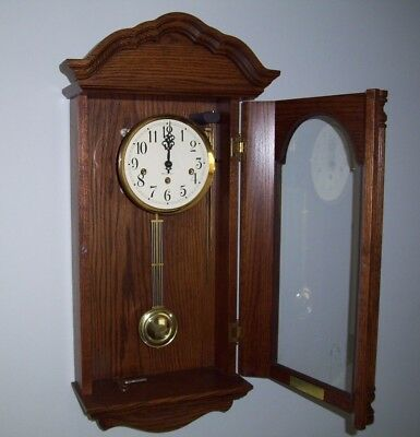Sligh Westminster Chime Wall Clock With Key Franz Hermle 351-030A Mov't Serviced