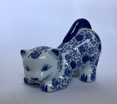 Bombay Cat Figurine Blue & White Hand Painted Small Statue