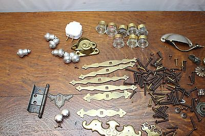 Miscellaneous Collection of Hardware Brass Drawer Pulls, Screws, Fuses, etc.