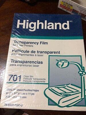 New Highland Transparency Film 701 Black On Clear Laser 50 Sheets