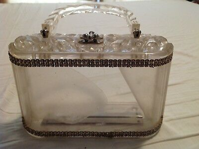 Clear vintage Lucite plastic 1950s Purse with Rhinestones