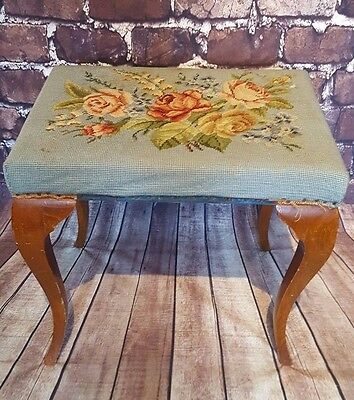 Vintage Antique Tapestry Wooden Piano Bedroom Stool Seat Chair Victorian