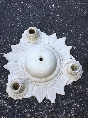 "1930's 14"" Art Deco 3 Bulb Ceiling Light Fixture"