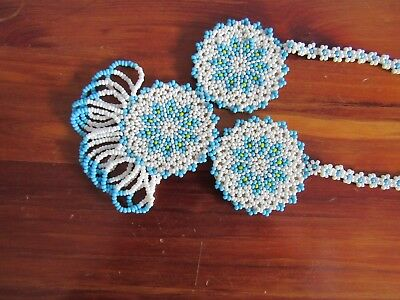 vintage native American bead work necklace, turquoise/aqua and white. Beautiful!