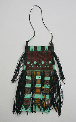 Tuareg Leather Embroider Saddlebag Bag Purse Boho Gypsy Festival Fringed Tassels