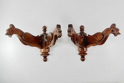 Pair Antique-Vintage French Carved Wood Dragon or Gargoyle 2-Arm Sconces