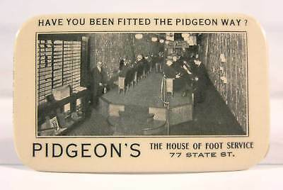 ca1905 CELLULOID ADVERTISING POCKET MIRROR - PIDGEONS SHOE STORE ROCHESTER NY